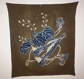 Meiji tsutsugaki cotton furosshiki textile hand woven