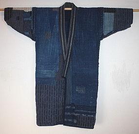 Japanese meiji Indigo boro Patchwork noragi textile