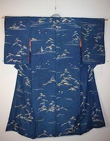 edo yuzen silk kimono textile