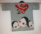 Japanese tengu and okame cotton hanten textile