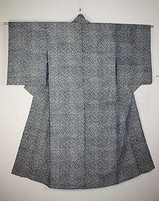 Meiji Indigo dye katazome thick cotton kimono