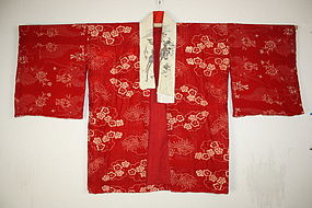 Edo itajime(katazome) chirimen-silk hanjyuban