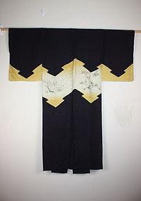 Edo nanako-weave silk katsugi kimono very rare