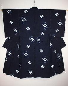 Meiji asamai-shibori Indigo dye hand-spun cotton kimono