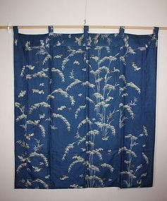 Edo era Japanese yuzen-dye uchishiki silk textile