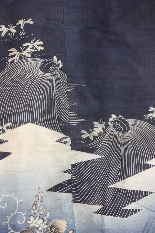 Japanese Edo yuzen tsumugi silk Child kimono