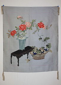 Japanese edo-meiji silk yuzen-dye fukusa textile
