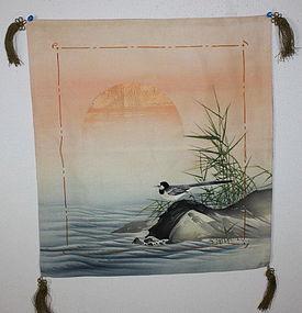 Japanese silk beautiful yuzen-dye  fukusa textile