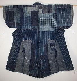 Japanese anrique Indigo dye Stripe sashiko boro noragi kimono rare