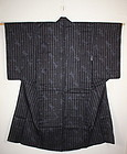Japanese Indigo dye Stripe and weave hitoe kimono