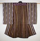 Meiji silk Stripe and katazome and kasuri Child kimono