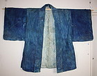 Edo Folk art boro Leather haori of the indigo dye rare