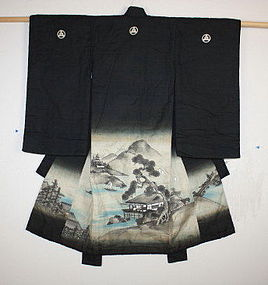 Edo Child Picture drawn in India ink silk kimono