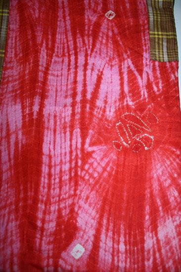 Meiji beni-shibori silk jyuban kimono textile