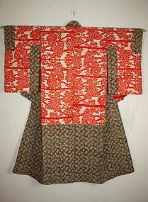 Meiji beni-itajime katazome silk jyuban kimono textile