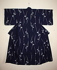 Japanese  Indigo dye cotton yukata Rain and umbrella