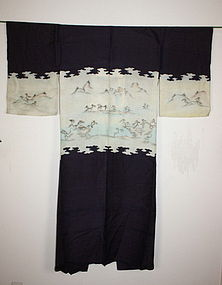 Japanese silk katsugi-kimono such as the sumi drawing