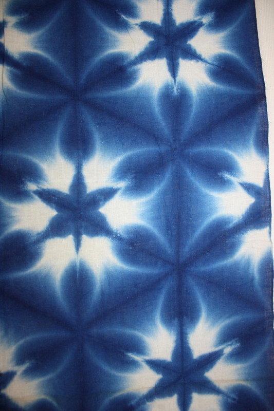 Japanese beautiful indigo dye sekka-shibori textile