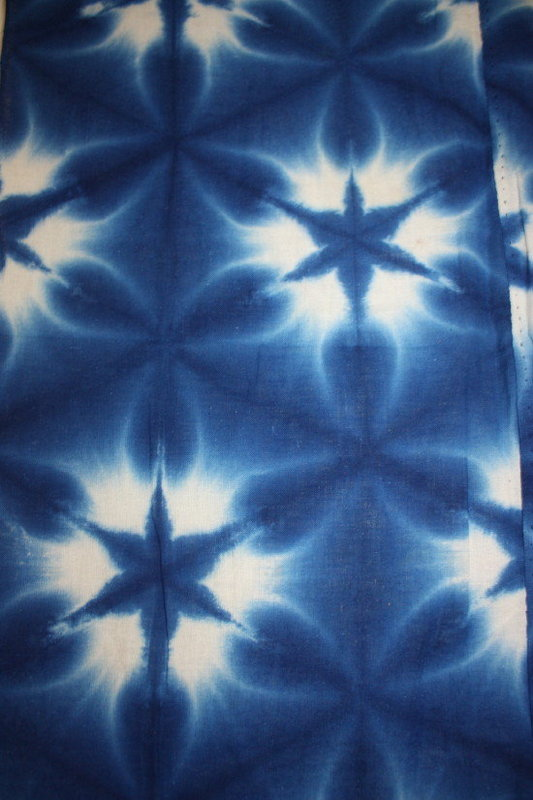 Japanese beautiful indigo dye sekka-shibori textile
