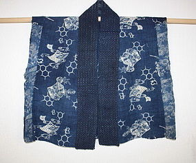 meiji Indigo dye katazome urashima-taro hanjyuban