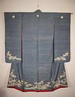 Edo period elegant yuzen-dye silk furisode kimono