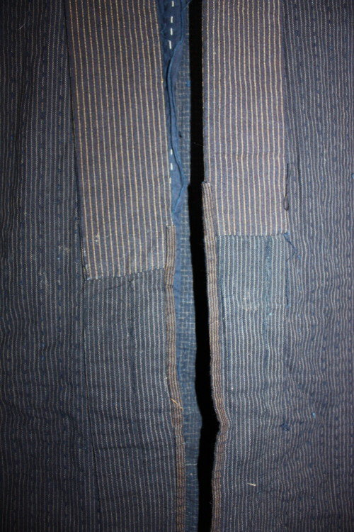 Indigo boro tattered stripe sashiko Work clothes noragi