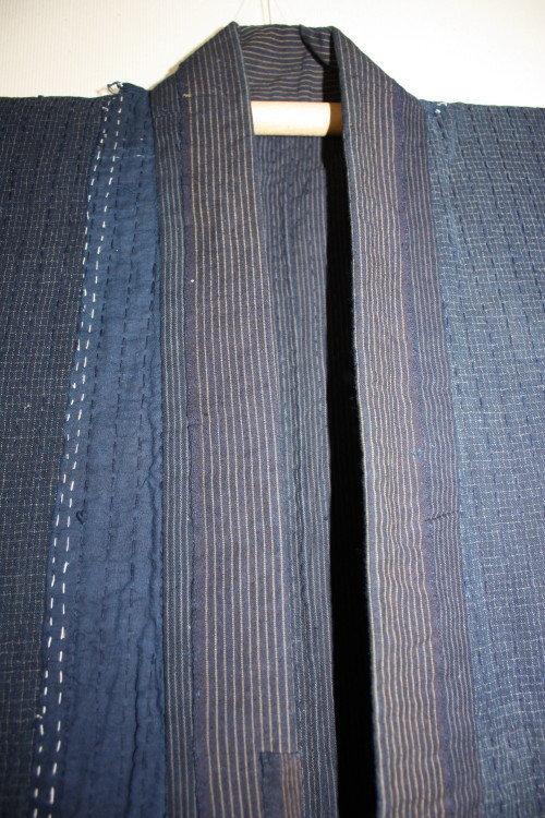Indigo boro tattered stripe sashiko Work clothes noragi