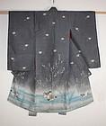 edo yuzen-dye silk Child kimono textile