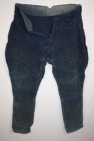 Meiji Indigo dye thick hemp boro Pants textile  rare