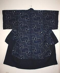 Edo Indigo dye cotton shibori & katazome yogi textile