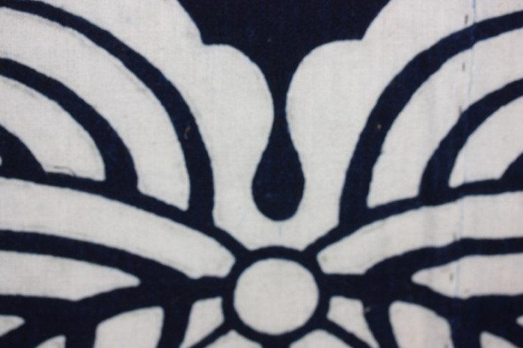 Edo Indigo dye cotton tsutsugaki furoshiki textile