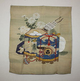japanese fukusa textile of embroidery & dyeing