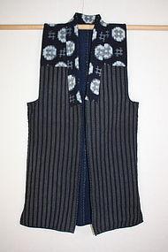 Meiji Indigo dye cotton syonai-sashiko noragi textile