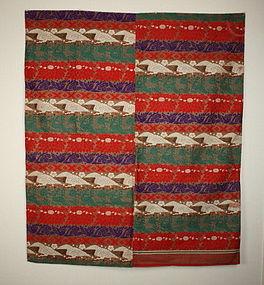 japanese meiji cotton nishiki-uchishiki weave textile