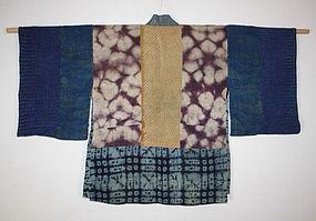 Edo silk shibori & katazome boro hanjyuban textile