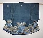 Edo thick Indigo dye cotton tsutsugaki Child kimono