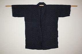 Edo echigo-jyofu hemp Indigo dye kasuri noragi  hanten