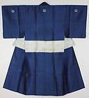 Edo samurai shijira Noshime silk indigo dye kimono