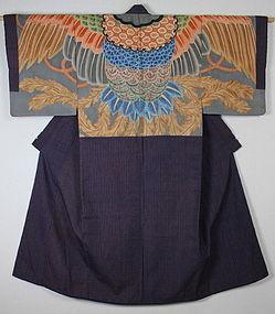 Edo tutugaki Yuuzen phoenix silk cotton Dounuki Kimono
