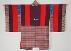 Meiji Yosegire patched Silk Katazome Embroidery