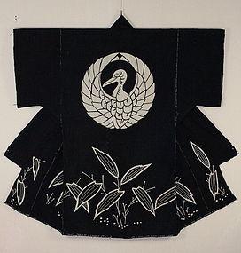 Edo Thick indigo Cotton Tutugaki Crane crest Yogi Thick