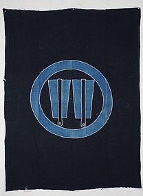 Edo Indigo Tsutsugaki Cotton  W fan crest  Impressive