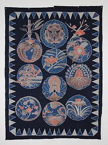 Edo era Indigo Tsutsugaki Cotton Impressive Shiga