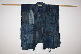 Meiji indigo cotton boro tattered Patched thick noragi