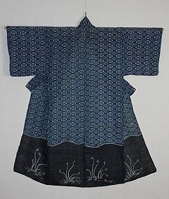 Edo Tsutsugaki Katazome Katsugi Indigo Jyofu- Hemp