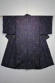 Meiji Indigo cotton Hand-spun Swallow Shibori Kimono