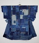 Amazing Edo Boro Patched Sashiko-stitch Indigo Cotton
