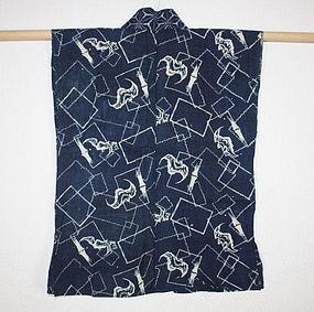Meiji Indigo dye cotton katazome hanjyuban