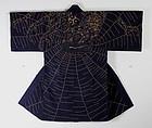 Edo Sashiko-embroidery big spider Hanten rare