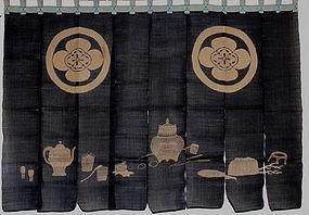 Edo Indigo Hemp Yuzen-zome Tea ceremony.Noren rare